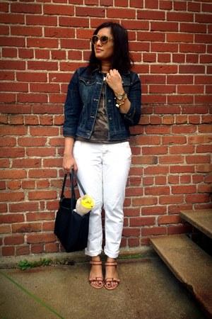 peach cat eye Valentino sunglasses - off white boyfriend Ann Taylor Loft jeans