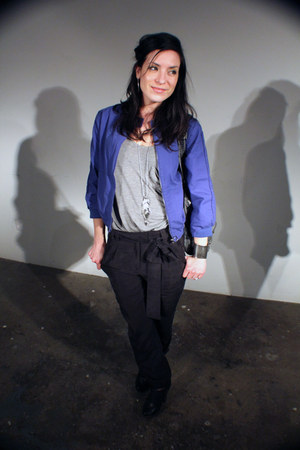 black Qupid shoes - blue thrifted jacket - heather gray slouchy tank Target t-sh