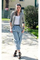striped f21 cardigan - blue pleated thrifted pants - white tank top f21 t-shirt