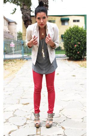 red denim no name leggings - white thrifted Childrens Place blazer