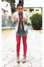 Red-denim-no-name-leggings-white-thrifted-childrens-place-blazer-heather-gra