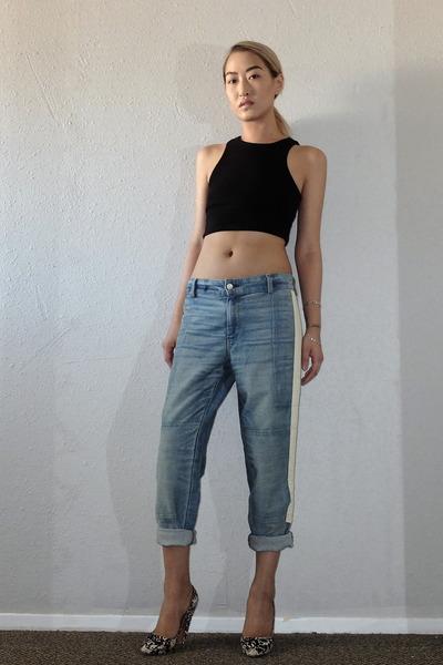 light blue rag & bone jeans - black H&M top