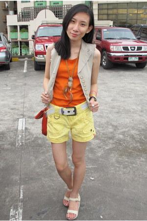 carrot orange Nine West bag - light yellow EDC shorts - tan EMA vest - eggshell