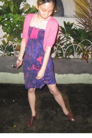 hot pink Mango cardigan - deep purple EDC dress - dark brown moms flats