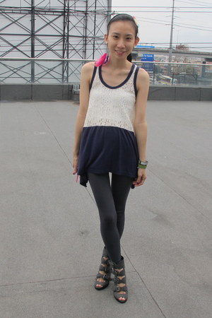 gray Manels boots - charcoal gray SM leggings - navy taiwan top