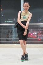 black Asian Vogue shoes - black ensembles skirt - tan Sisley top