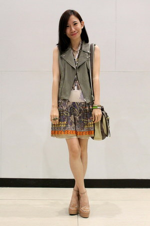 light brown taiwan vest - camel Mango dress - tan Asian Vogue heels
