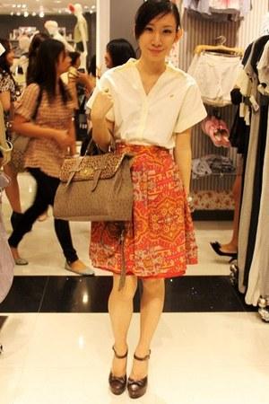 heather gray satchel Impulse Co bag - dark brown Forever 21 heels - ivory Oxygen