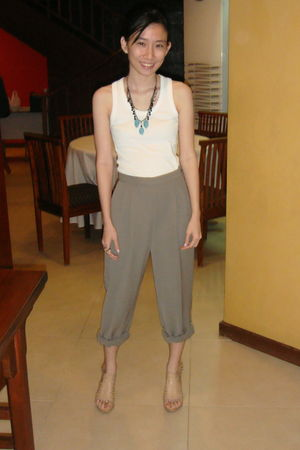white Mango top - g2000 pants - bought online accessories - Parisian Jr shoes