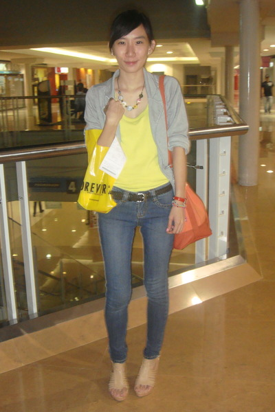 silver LMM blazer - wedges Parisian shoes - crissa jeans - bag Mango accessories
