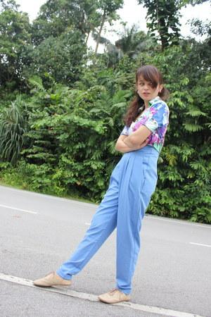 blue Forever 21 pants - tan rubi shoes - green Mosc blazer