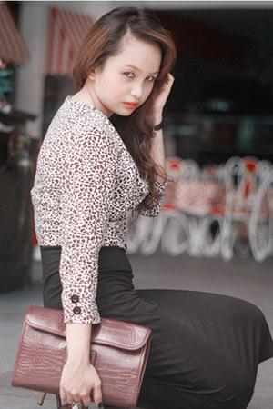 leopard print DIY top - black long dress random brand dress