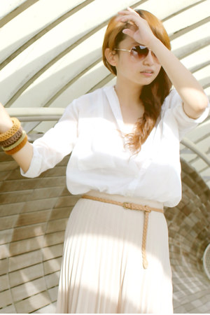 white Hardware shirt - ivory pleated DIY skirt - neutral rope Forever 21 belt