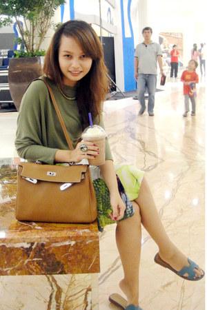light brown Hermes bag - olive green Mango shirt - white justcavalli skirt