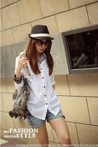white Yesstyle blouse - blue Yesstyle shorts - brown Yesstyle hat - silver Yesst