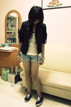 thrifted jacket - Top Shop top - cotton on shorts - online shoes