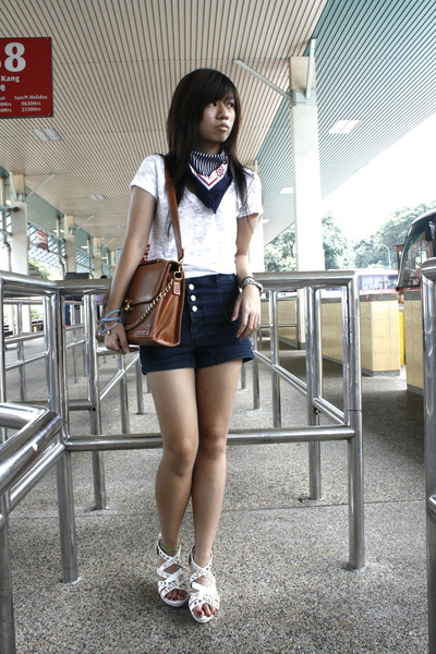 white Forever21 shirt - blue online scarf - blue Forever21 shorts - brown access