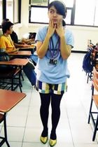 blue random t-shirt - DIEGO shorts - tights - mario d boro shoes
