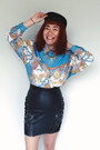 Light-blue-vintage-chictopia-shop-top-black-leather-vintage-skirt