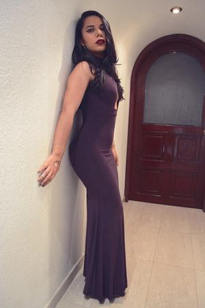 silver round crystal swarovski earrings - deep purple cut out dress GoJane dress