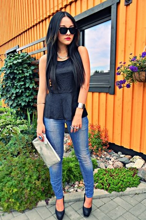 black 15  cm OASAP heels - sky blue casual acne jeans