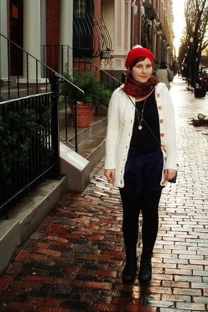 white H&M cardigan - blue Forever 21 shorts - black Forever 21 t-shirt - blue vi