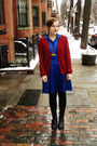 Blue-vintage-dress-red-gina-benotti-cardigan-black-manguun-boots-gold-rene