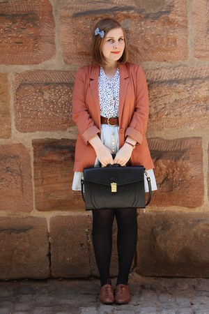 coral H&M blazer - black Urban Outfitters bag - light blue modcloth skirt - whit