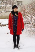 blue Forever 21 dress - black Manguun boots - red H&M coat - blue vintage purse