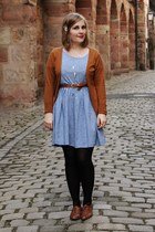 brown bullboxer shoes - sky blue floral H&M dress - tawny H&M belt - tawny Strad