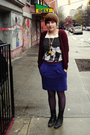 Blue-uniqlo-skirt-red-h-m-cardigan-white-h-m-t-shirt-black-manguun-boots-