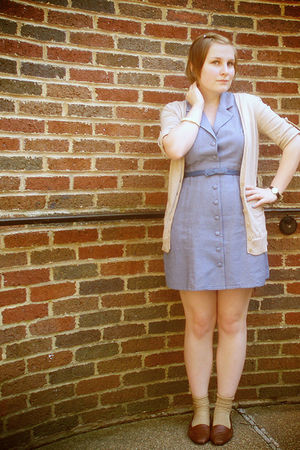 blue Forever 21 dress - blue Forever 21 belt - beige Charlotte Russe cardigan -