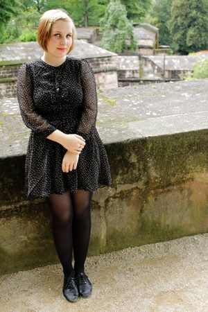 black polka dot H&M dress - black Steven by Steve Madden shoes - black tights