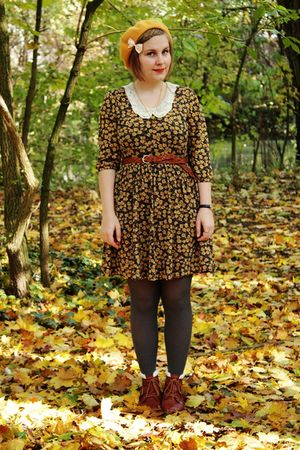 yellow Zara dress - gray H&amp;M tights - brown H&amp;M belt - brown Akira boots - yello