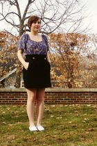 black fred flare skirt - blue Melrose shirt - gold modcloth necklace - white Top