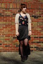 gray modcloth skirt - black Forever 21 blouse - beige Charlotte Russe cardigan -