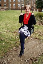 red thrifted blouse - white Etsy skirt - black Forever 21 cardigan - blue ernsti