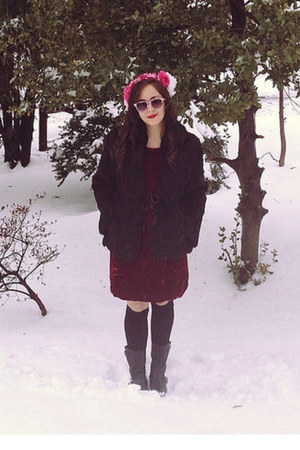 black Forever 21 boots - maroon vintage dress - black vintage coat