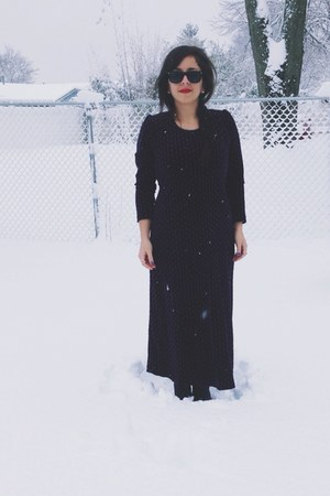 navy velvet vintage dress - black Forever 21 boots - black no brand sunglasses
