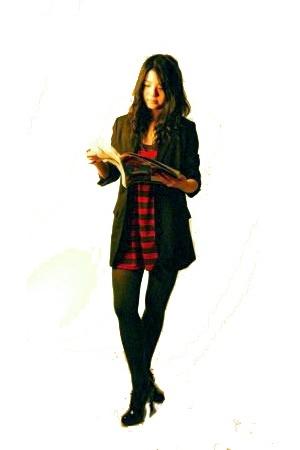 forever 21 blazer - forever 21 dress - simply vera wang tights - UrbanOG shoes