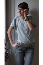 gray Zara t-shirt - gray  pants - silver  belt