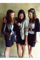 black Zara skirt - white River Island blouse - white  purse - black Zara cardiga