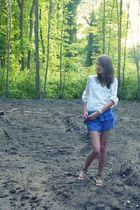 white Zara blouse - blue H&M shorts - brown Sacha shoes - blue  bracelet