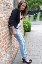 black nolita blazer - white DIY by Bram t-shirt - blue Zara jeans - black  shoes