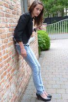 black nolita blazer - white DIY by Bram t-shirt - blue Zara jeans - black  shoes