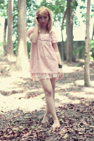 light pink lace dress dress - black DIY bracelet