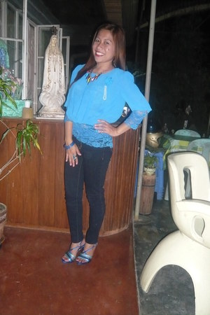blue blouse - earrings - accessories - bracelet - heels