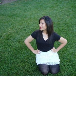 Forever 21 t-shirt - Wet Seal skirt - Forever 21 tights - Forever 21 accessories