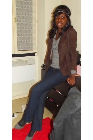 SIX earrings - Just T jeans - Zara jacket - asos accessories - H&M sweatshirt