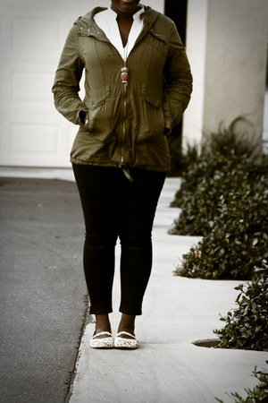 Blowfish flats - black Levis jeans - olive green Charlotte Russe jacket